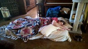 David sleeping at Camp Roughing It